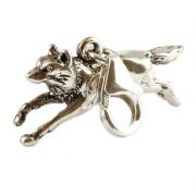Running Wolf 3D Sterling Silver Clip On Charm - With Clasp
